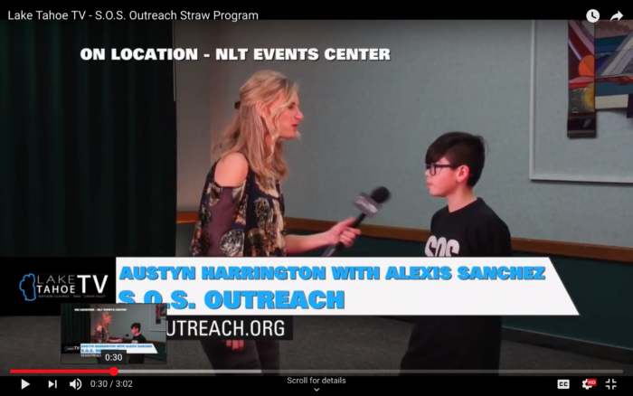 SOS Outreach Youth on a TV interview with Alexis from North Lake Tahoe