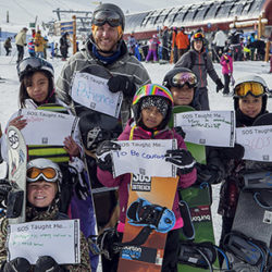 SOS youth on the mountain holding signs with what they've learned