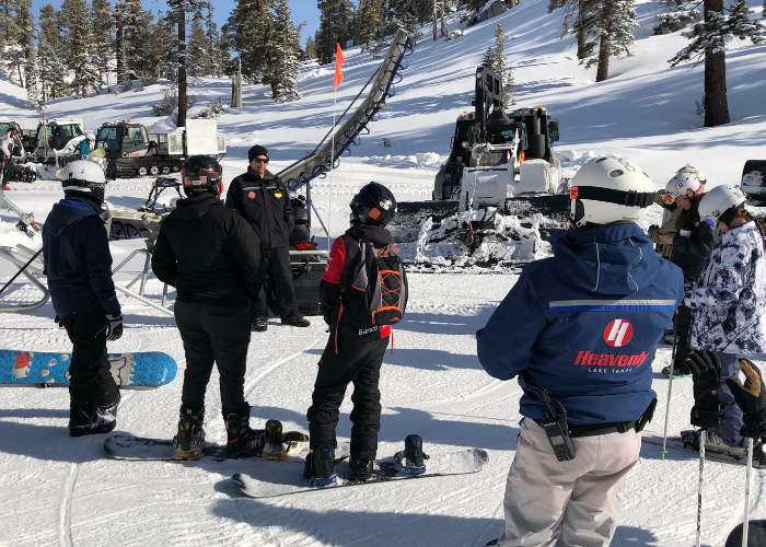 Snowboarders on the mountain with SOS Outreach at Heavenly Industry Day